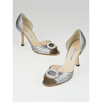 Manolo Blahnik Silver Nappa Leather Sedaraby Crystal d'Orsary Peep-Toe Pumps Size 6/36.5