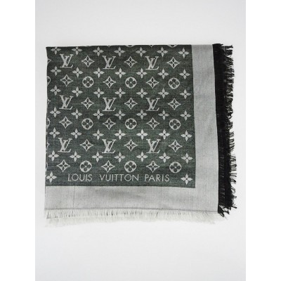 Louis Vuitton Black Monogram Denim Silk/Wool Shawl Scarf