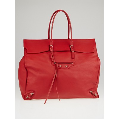 Balenciaga Rouge Calfskin Leather Papier Flap Tote Bag