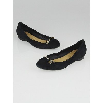 Chanel Black Suede Chain Ballet Flats Size 5.5/36
