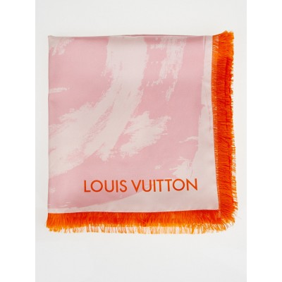 Louis Vuitton Rose Arty Flower Silk Square Scarf