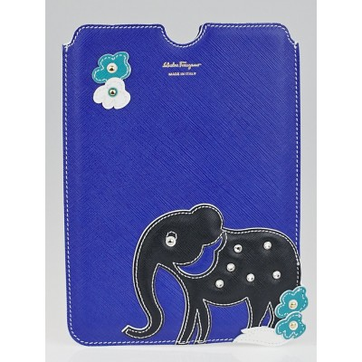 Salvatore Ferragamo Blue Saffiano Leather Elephant iPad Mini Case