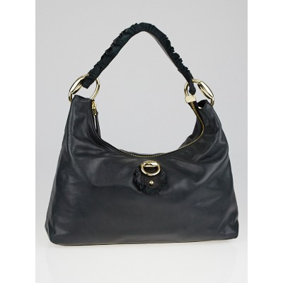 Gucci Black Leather Sabrina Hobo Bag