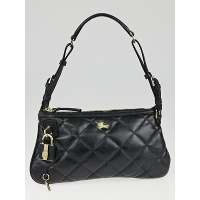 Burberry Black Quilted Leather Small Manor Pochette Shoulder Bag