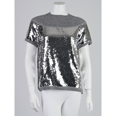 Chanel Grey Cashmere and Sequin Pullover Top Size 10/42