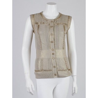 Chanel Gold Cotton Blend Knitted Chain Vest Size 10/44