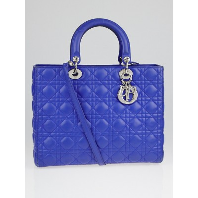 Christian Dior Blue Cannage Quilted Large Lady Dior Bag