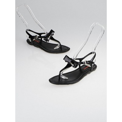 Prada Black Patent Leather Bow Sandals Size 5.5/36