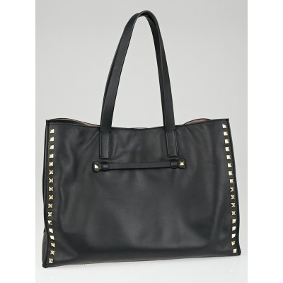Valentino Black Calfskin Leather Rockstud Medium Shopping Tote Bag
