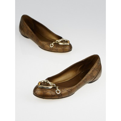 Gucci Bronze Guccissima Leather Heart Ballet Flats Size 5.5/36