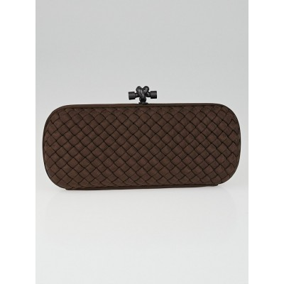 Bottega Veneta Ebano Intrecciato Woven Silk Stretch Knot Clutch Bag