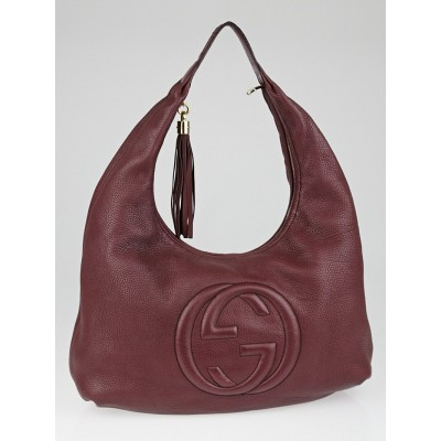 Gucci Burgundy Pebbled Calfskin Leather Soho Hobo Bag