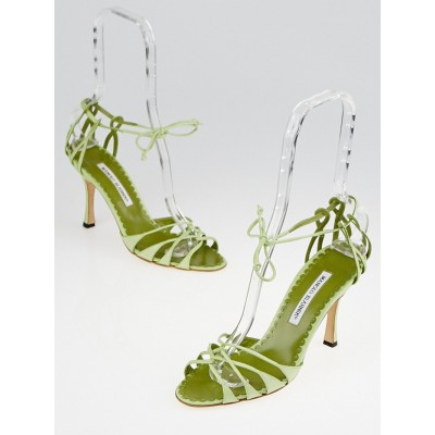 Manolo Blahnik Green Nappa Leather Espinasa Strappy Sandals Size 7.5/38
