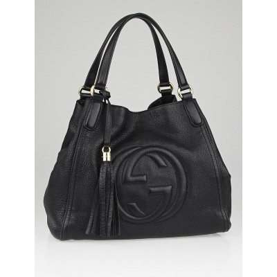Gucci Black Pebbled Leather Soho Tote Bag