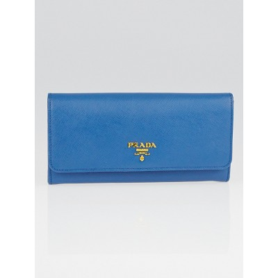 Prada Cobalto Saffiano Metal Leather Continental Wallet 1M1132