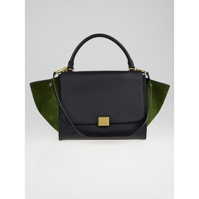 Celine Black Calfskin Leather and Green Suede Small Trapeze Bag