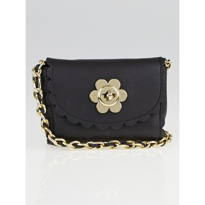 Mulberry Black Leather Flower Mini Crossbody Bag