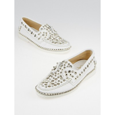 Christian Louboutin White Leather Yacht Spikes Flat Loafers Size 6/36.5