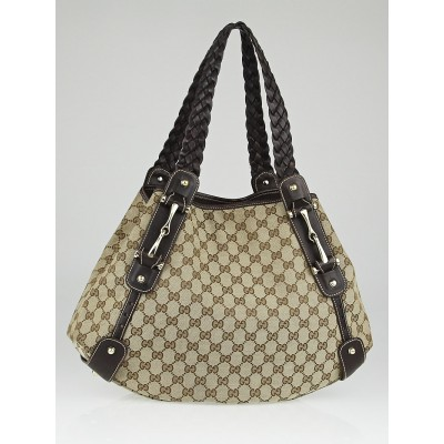Gucci Beige/Ebony GG Canvas Pelham Medium Shoulder Bag