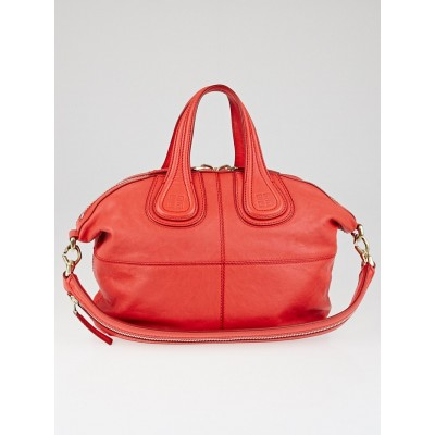 Givenchy Coral Red Zanzi Leather Small Nightingale Bag