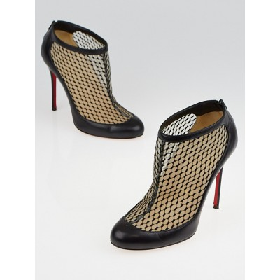 Christian Louboutin Black Leather and Lace Voilette Anna May 100 Booties Size 5.5/36