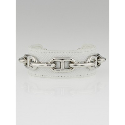 Hermes White Epsom Leather Chain d'Ancre Cuff Bracelet