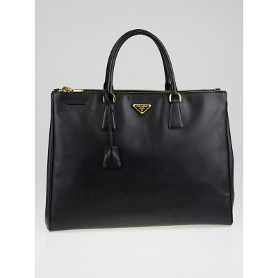 Prada Black Saffiano Lux Leather Double Zip Executive Tote Bag BN1802