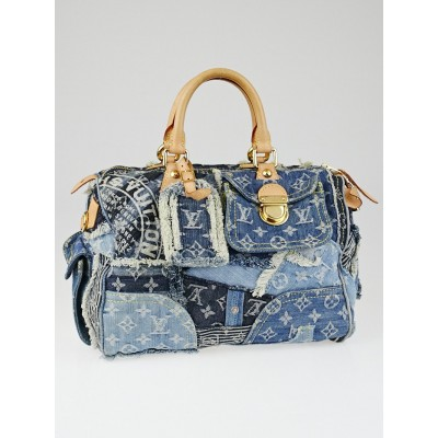 Louis Vuitton Limited Edition Blue Denim Patchwork Denim Speedy Bag