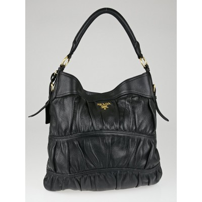 Prada Black Cervo Leather Large Hobo Bag