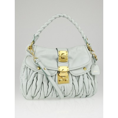 Miu Miu Light Blue Matelasse Nappa Leather Coffer Hobo Bag