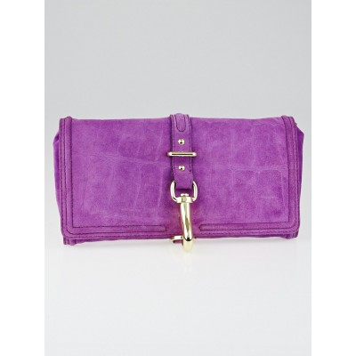 Mulberry Violet Crocodile Stamped Suede Abigail Clutch Bag