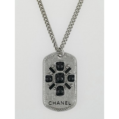 Chanel Silvertone Metal and Black Stone Dog-Tag Necklace