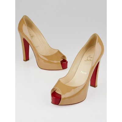 Christian Louboutin Beige Patent Leather Peep Toe Pumps Size 9/39.5