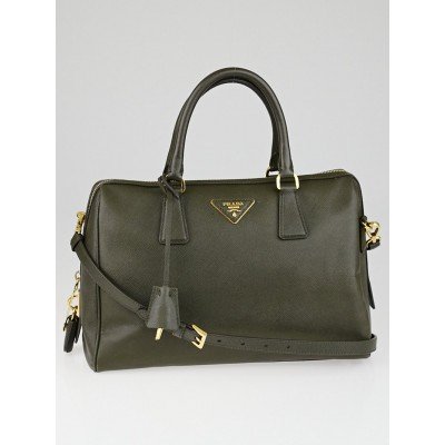 Prada Olive Saffiano Lux Leather Top Handle Bowler Bag BL0823