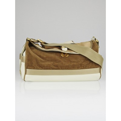 Bottega Veneta Beige Canvas and Corduroy Duffle Bag