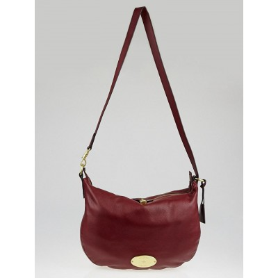 Mulberry Oxblood Soft Matte Leather Hobo Shoulder Bag
