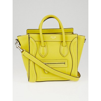Celine Citron Drummed Leather Nano Luggage Bag