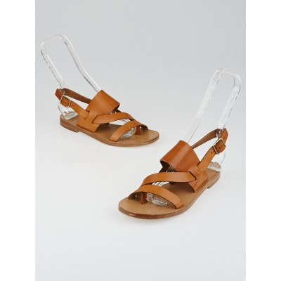 Chloe Brown Leather Strappy Flat Sandals Size 5/35.5