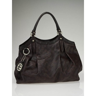 Gucci Dark Brown Guccissima Leather Large Sukey Bag