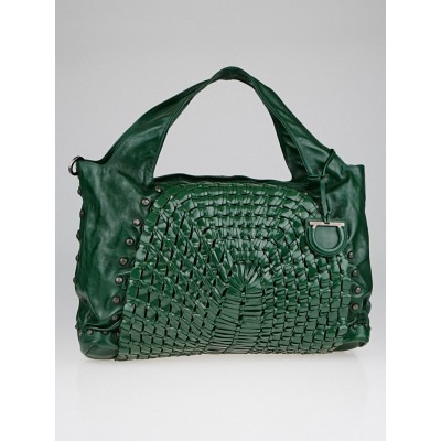 Salvatore Ferragamo Green Woven Leather Edera Hobo Bag