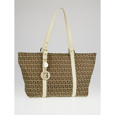 Fendi Tobacco Zucchino Print Canvas Superstar Grande Shopping Tote Bag