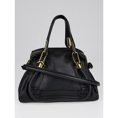 Chloe Black Pebbled Leather Small Paraty Bag