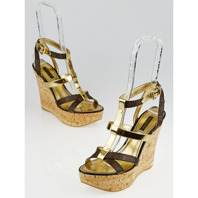 Louis Vuitton Monogram Canvas and Gold Leather Open-Toe Wedge Sandals Size 8.5/39