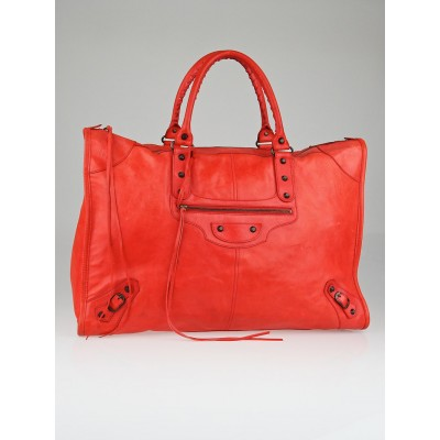 Balenciaga Coral Lambskin Leather Weekender Bag