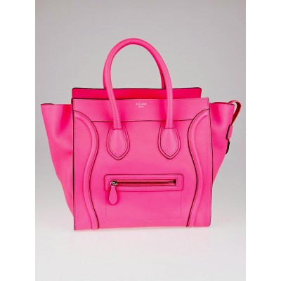 Celine Fluo Pink Drummed Leather Mini Luggage Tote Bag