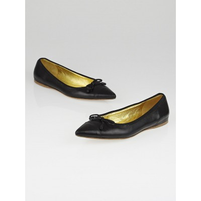 Prada Black Leather Pointed Toe Bow Ballet Flats Size 7.5/38