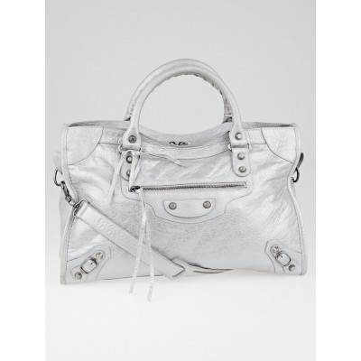 Balenciaga Silver Metallic Lambskin Leather Motorcycle City Bag