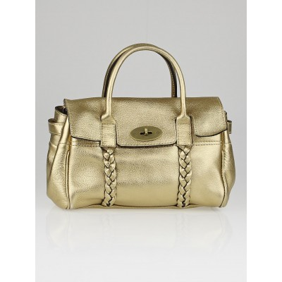 Mulberry Gold Pebbled Leather Small Bayswater Bag