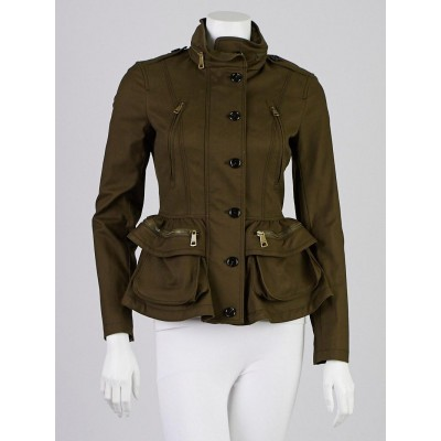Burberry Army Green Cotton Blend Stanbury Jacket Size 2