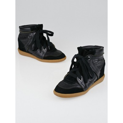 Isabel Marant Black Leather and Suede Bobby Sneaker Wedges Size 5.5/36